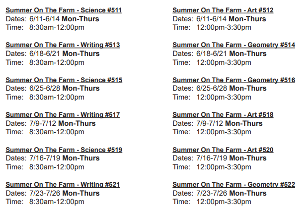 Summer on the Farm Camp Schedule