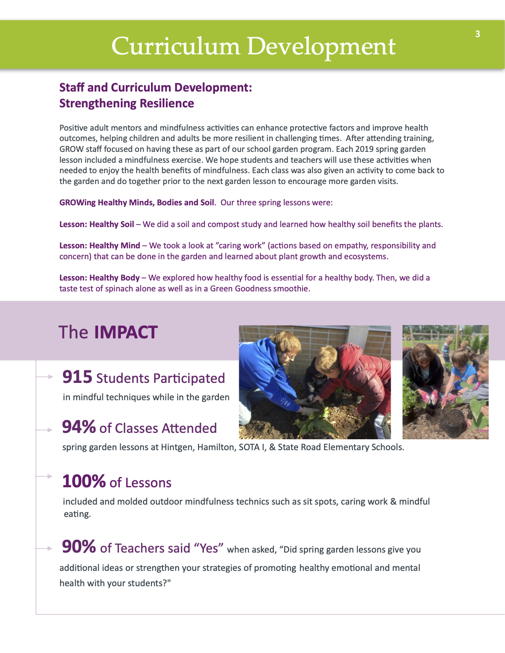 Annual Report 2019 curriculum